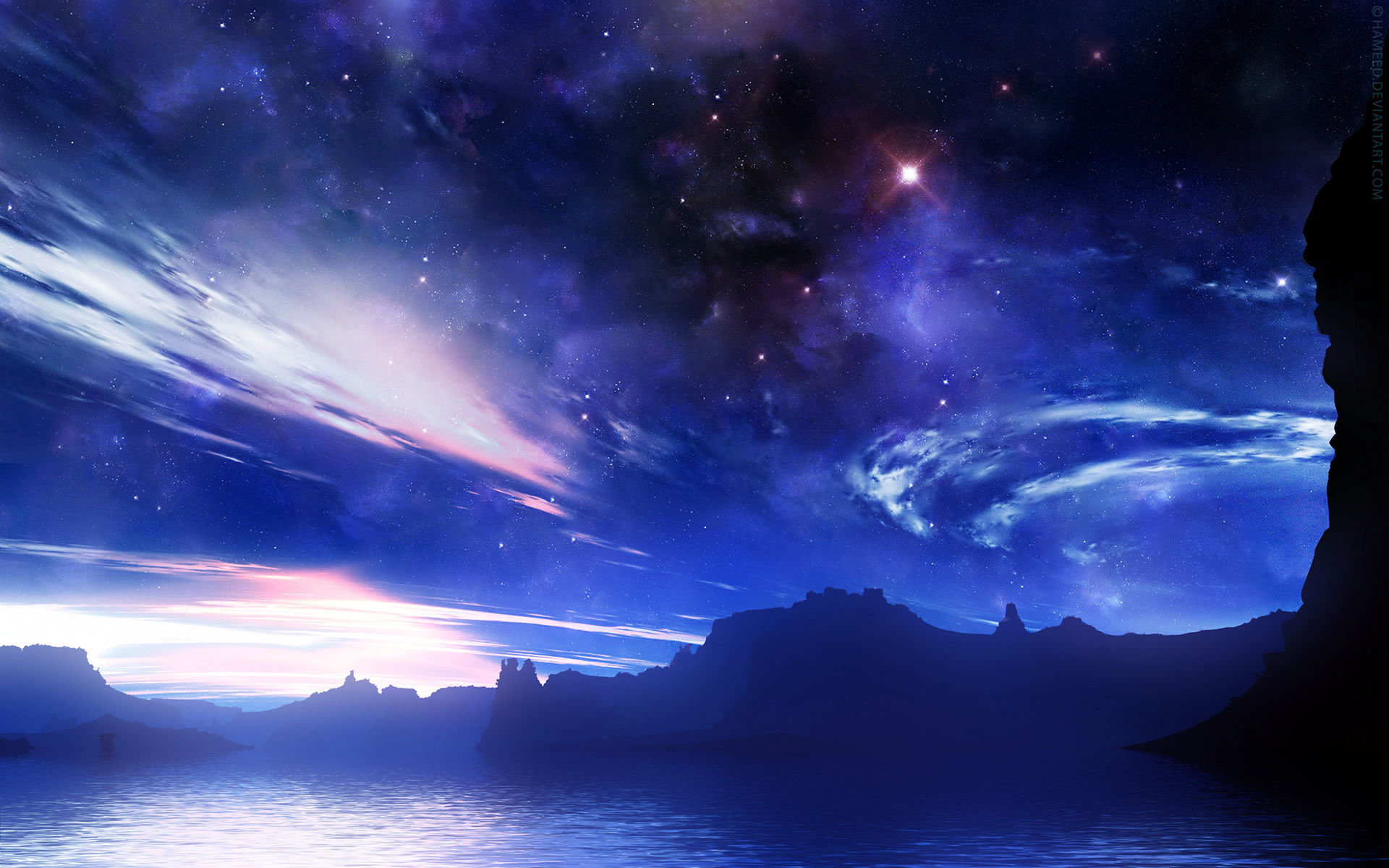 blue night sky background - photo #43